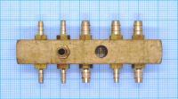 Коннектор латунный. внутр.резьба  2хМ10х1,0мм+ (6х5мм/5х3мм)  11штуцеров